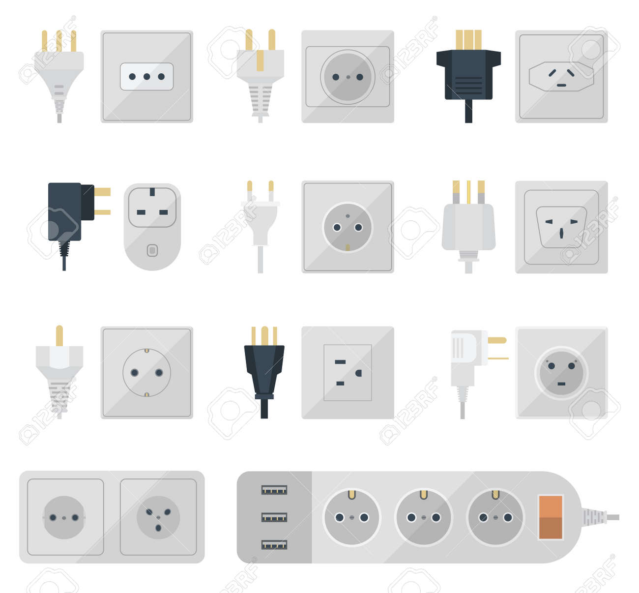 Electric Outlet Illustration On White Background. Energy Socket ...