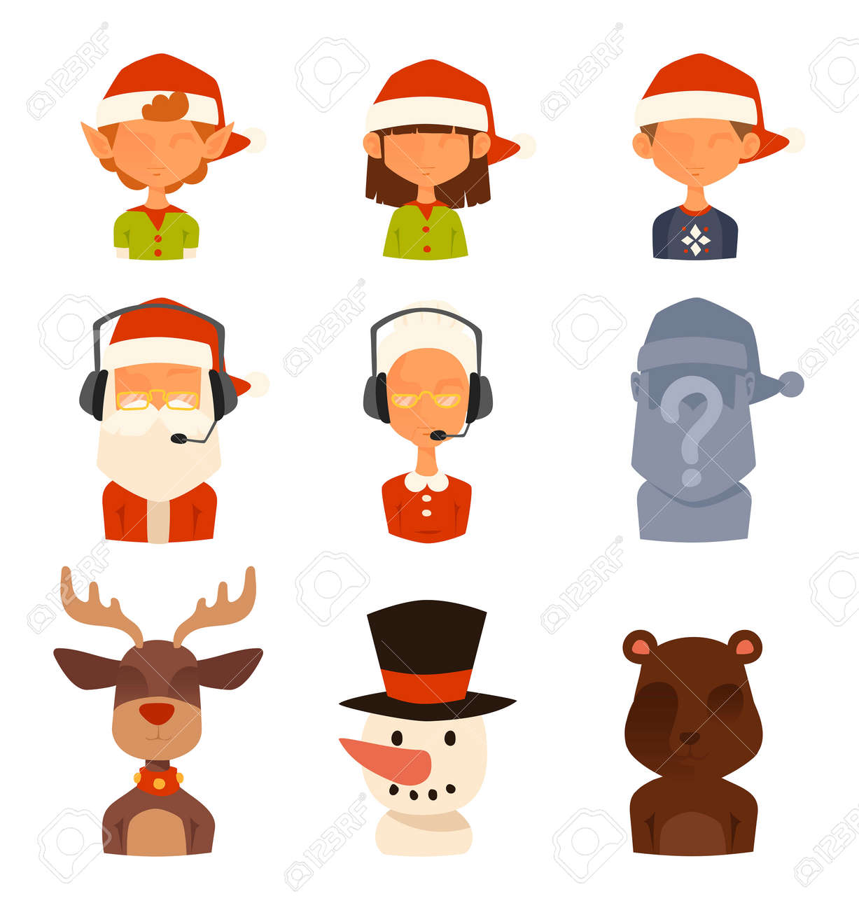Christmas Shop Support Vector Avatars Store Gift Delivery Cartoon People Face Avatar