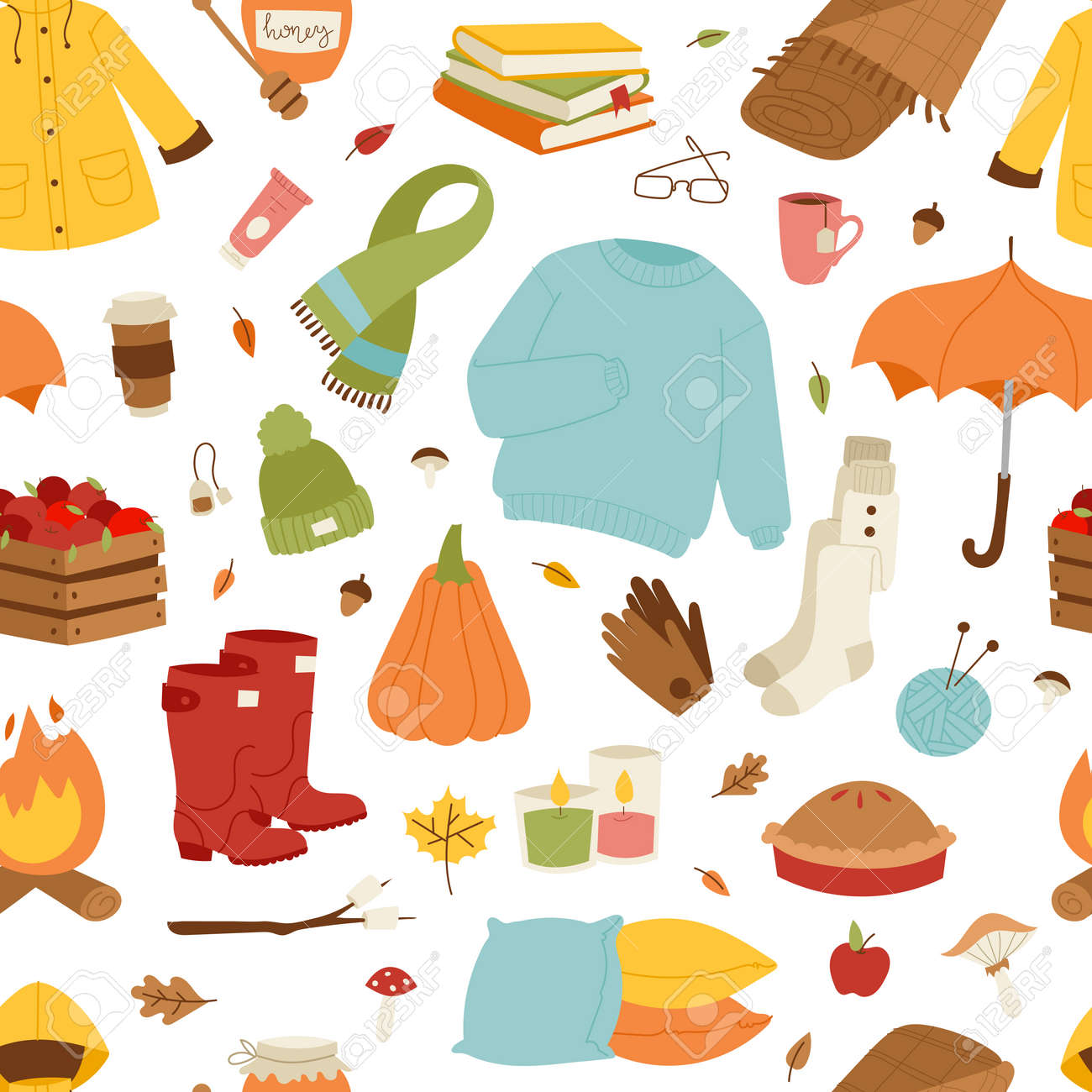 Collection Of Autumn Items Seamless Pattern Clothes Related To