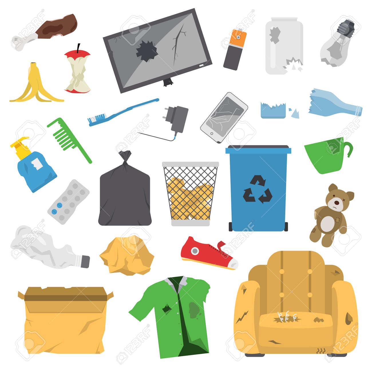 Vector drawings set of waste and garbage for recycling. Container reuse separation household waste garbage icons. Household waste garbage icons garbage trash rubbish recycling ecology environment. - 64705413