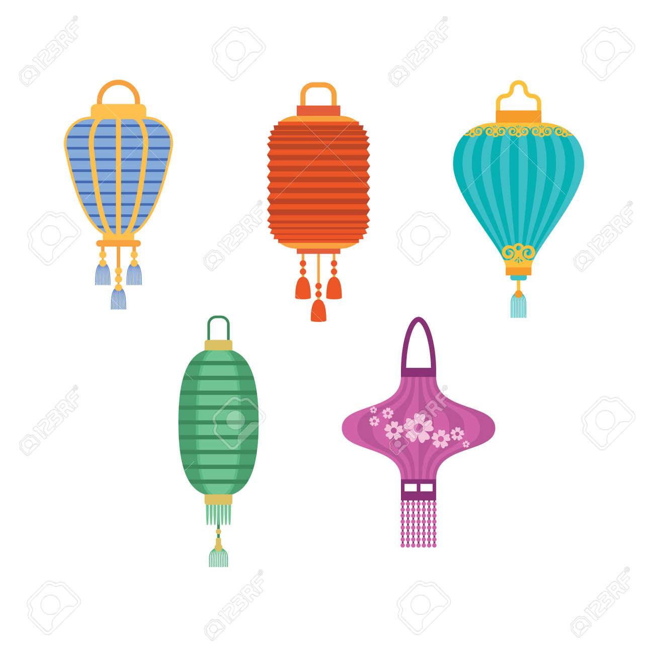 Ensemble De Vecteur De Collection Lanterne Chinoise Vacances De