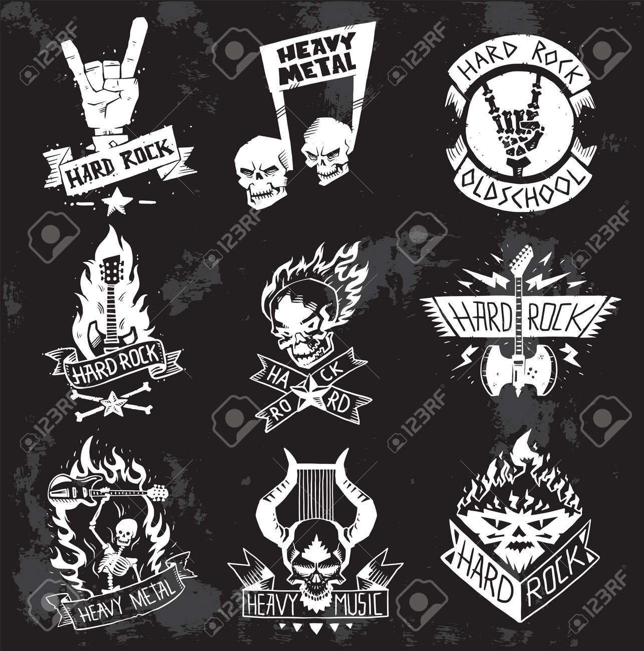 Vintage Coal Mining Emblems Labels Badges Monochrome Style Heavy