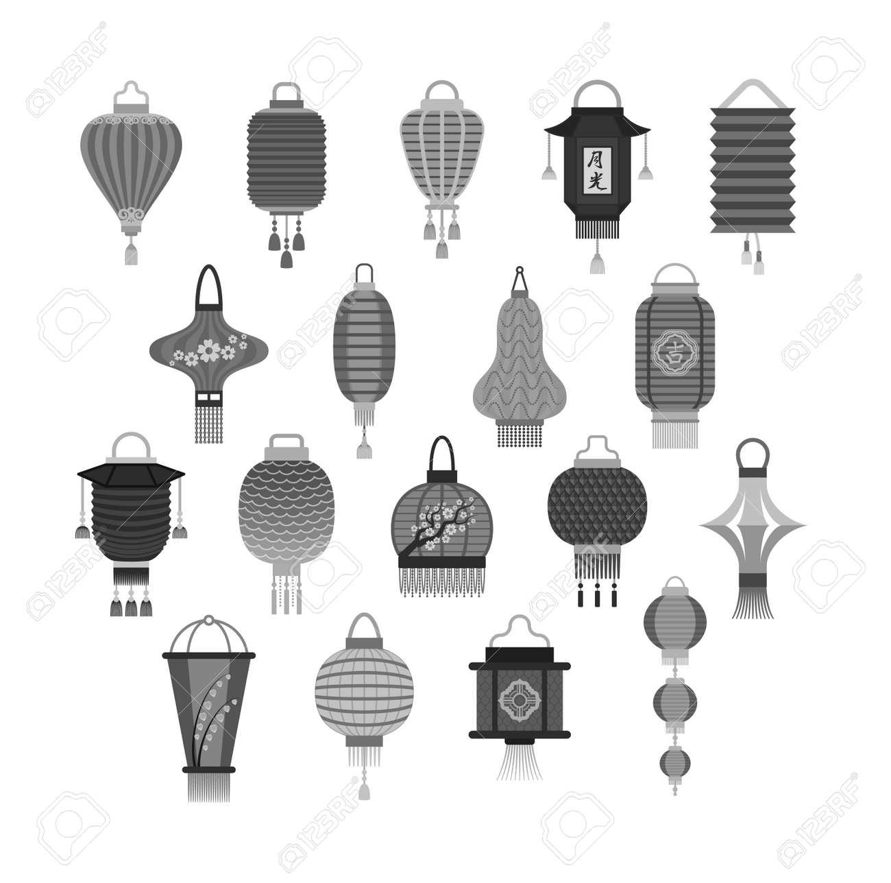 Chinese Lantern Collection Vector Set Paper Holiday Celebrate
