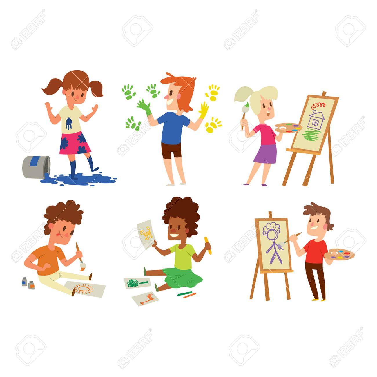 Bilder für kinderzimmer auf leinwand selber malen mädchen  Junge Und Mädchen, Künstler, Kinder, Kinder. Bildung Künstler ...