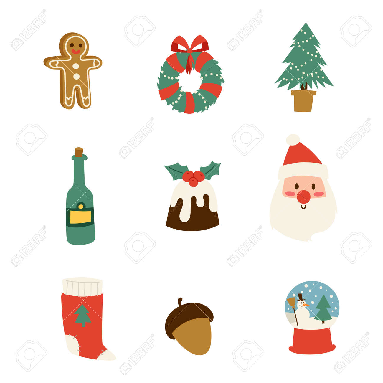 Christmas Icons Symbols For Greeting Card Symbols Vector Winter