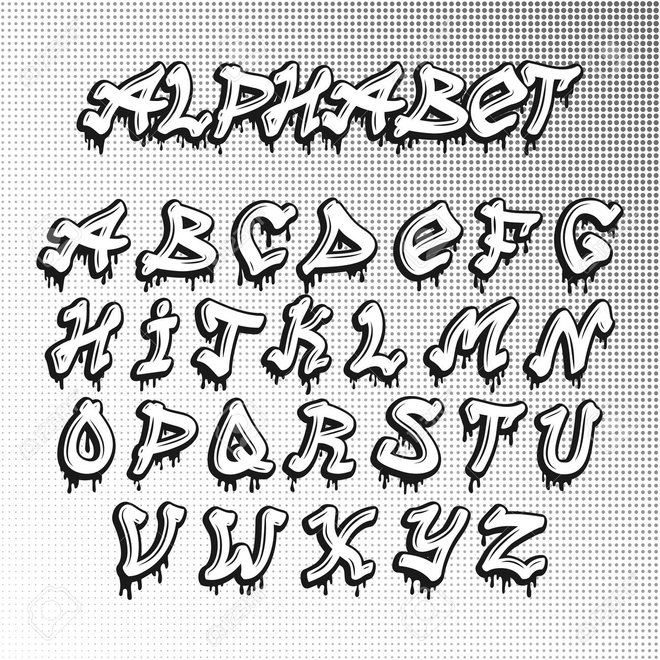 Graffiti font alphabet letters urban paint sketch artistic letter hip hop type alphabet abc graffiti