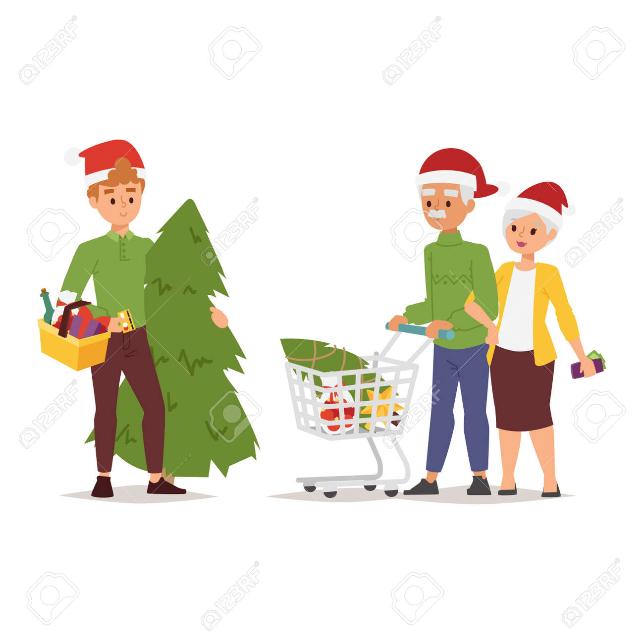 Collection Going Shopping People Christmas Celebrate With Bags Woman And Man