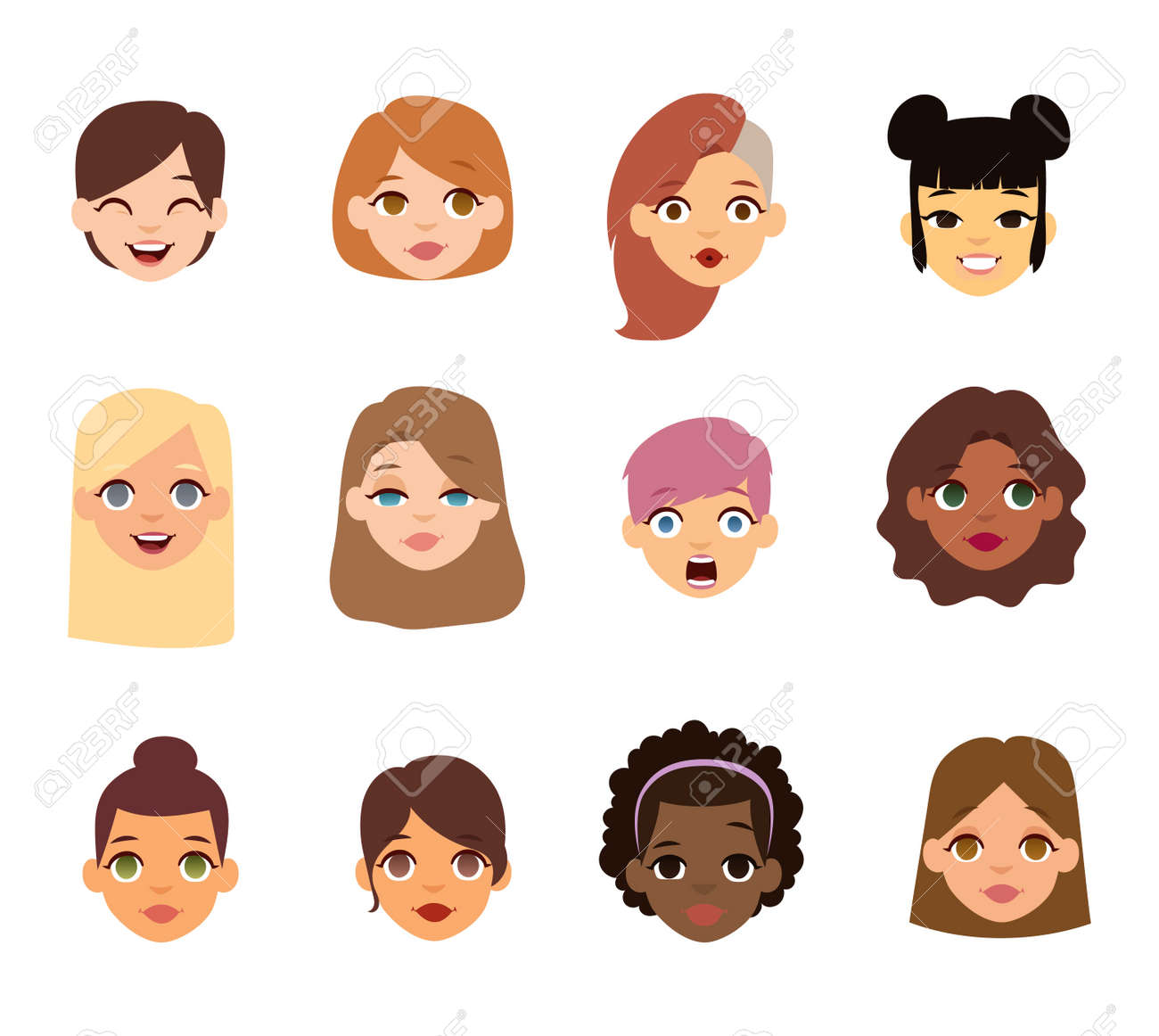 girl emotion faces cartoon vector illustration woman emoji face rh 123rf com cartoon woman face side view animated woman face