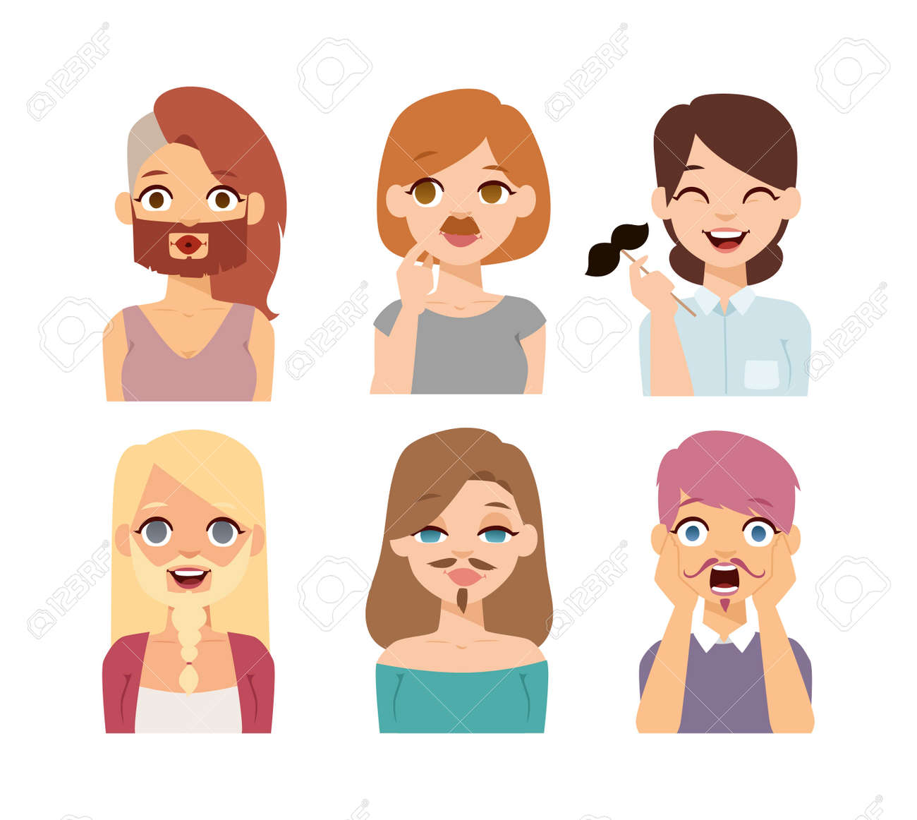 Girl Emotion Faces Cartoon Vector Illustration Beard And Mustaches