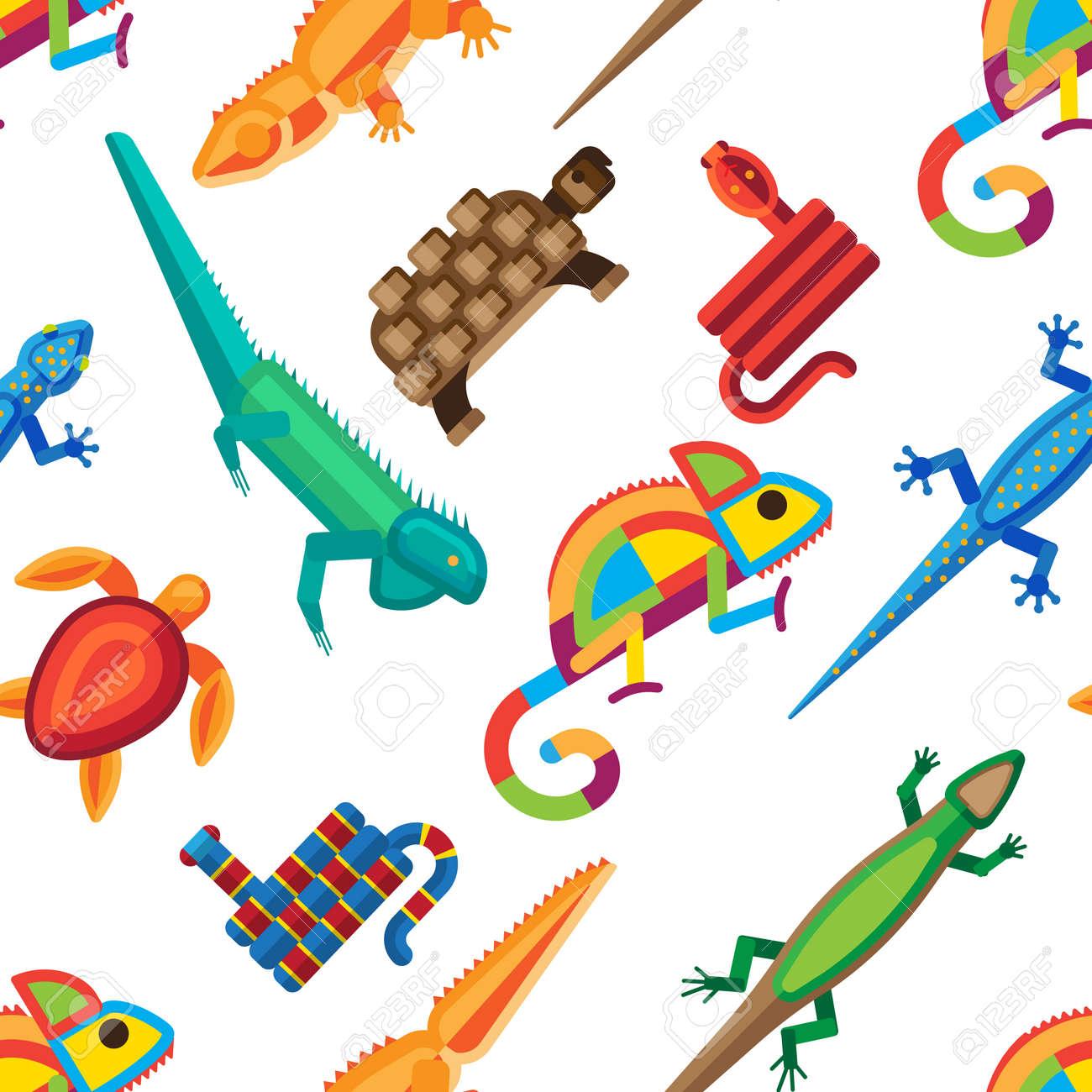 白い背景の爬虫類及び両生類シームレス パターン。カラフルな動物