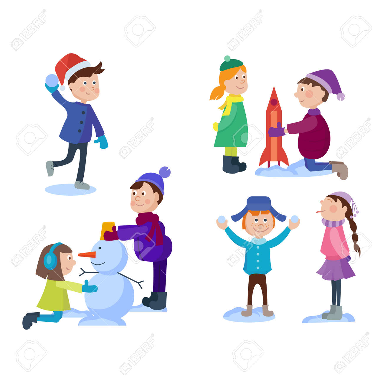 Christmas Kids Playing Winter Games. Skating, Skiing, Sledding ...