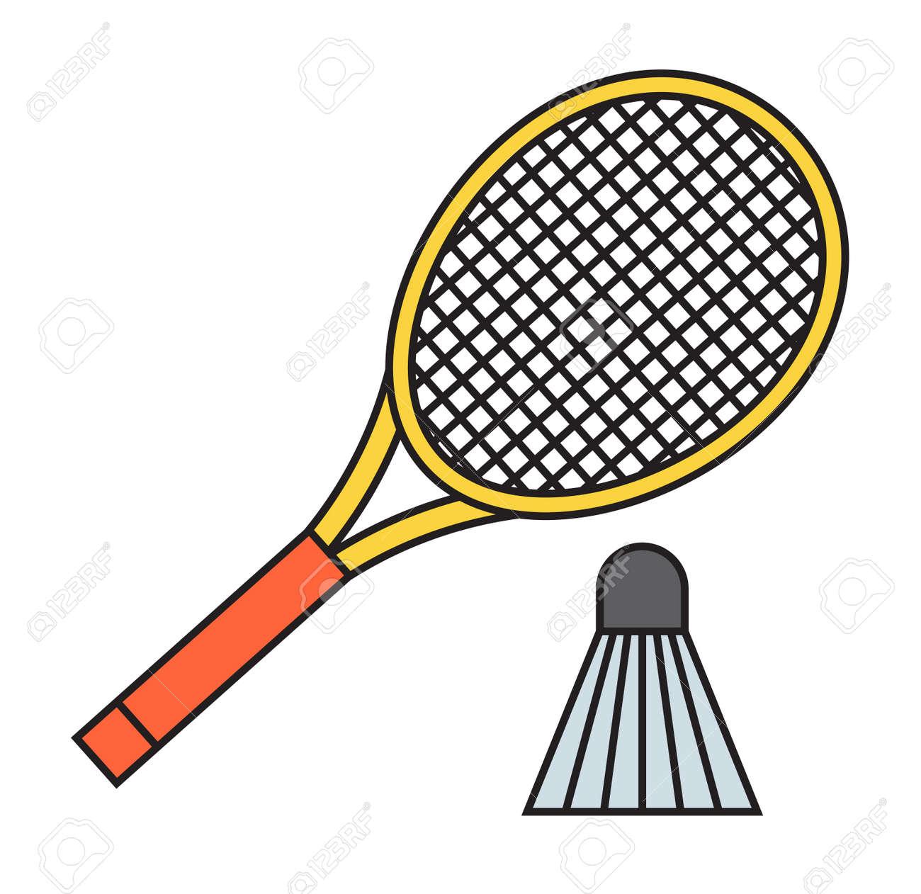 0aa8a2441cd22 Banque d'images - Deux raquette de badminton et le volant jeu de sport  compétition de loisirs vecteur plume de fitness. Action équipement amusant  tribunal ...
