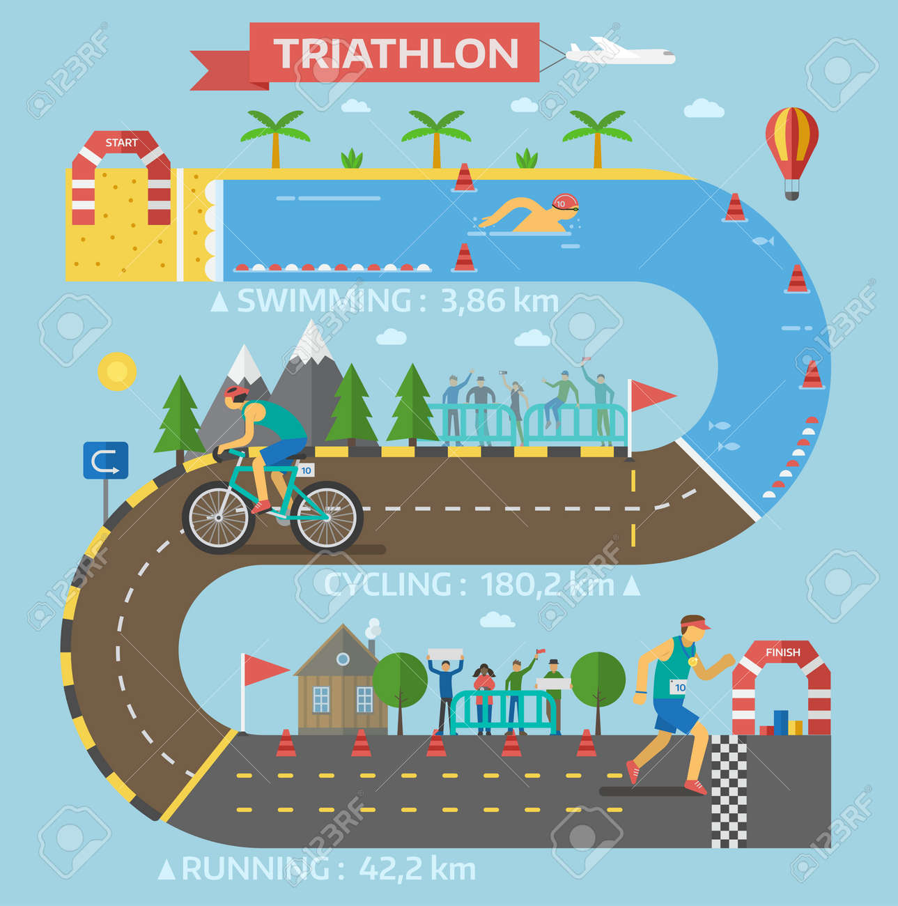 Triathlon race infographic presentation template. Progress triathlon race infographic vector with people hurry each step sport icon business. Speed competition concept information. - 67289263