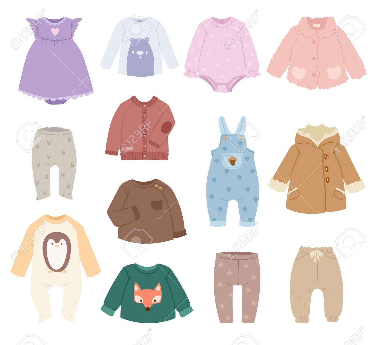 80cfc2b953aa2 Banque d images - Nourrissons bébé vêtements accessoires enfant vecteur.  Bébé vêtements collection de chemise moderne sur fond blanc.