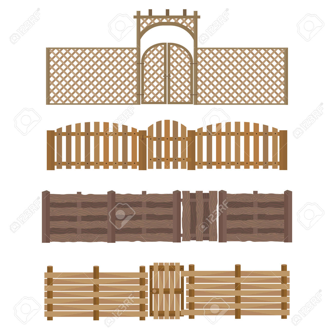 Different Designs Of Fences And Gates Isolated On White Background ...