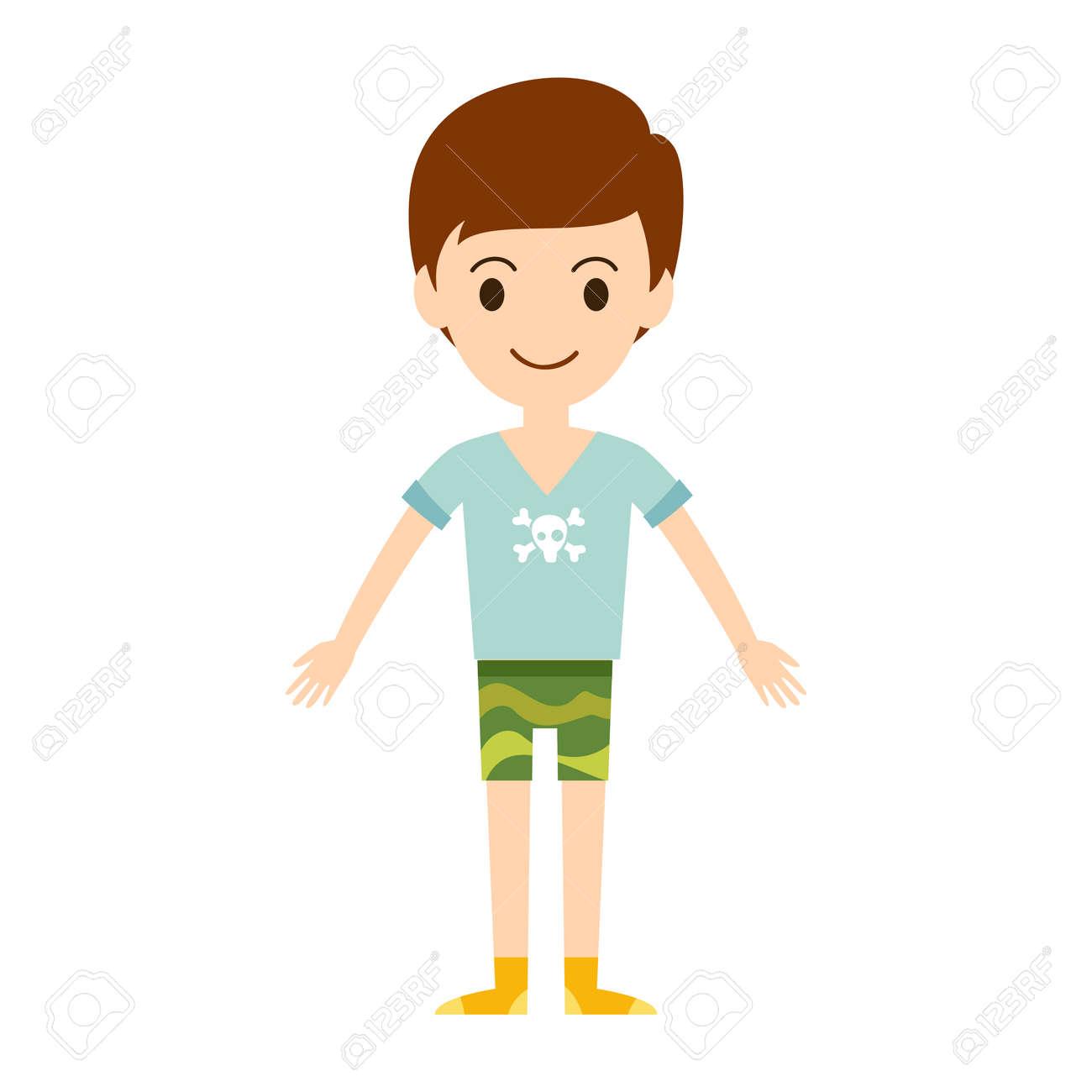 Modelo De Niño De Dibujos Animados De Vectores Hermosa Mirada De La