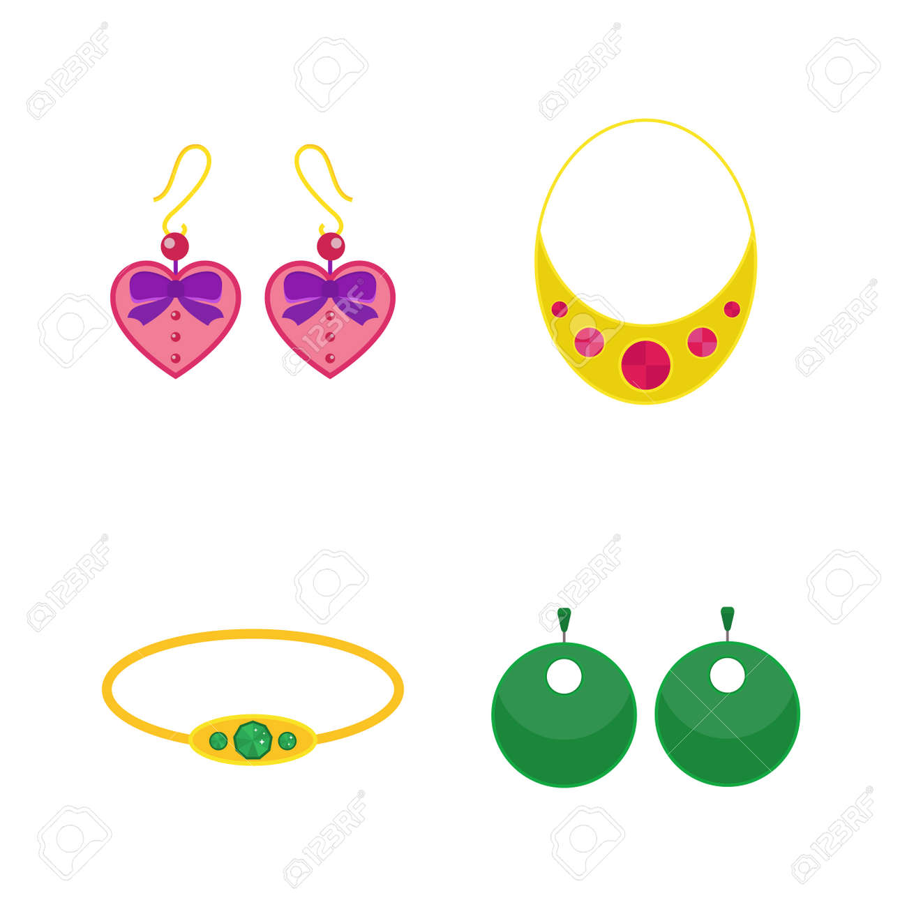 set of cartoon jewelry accessories vector royalty free cliparts