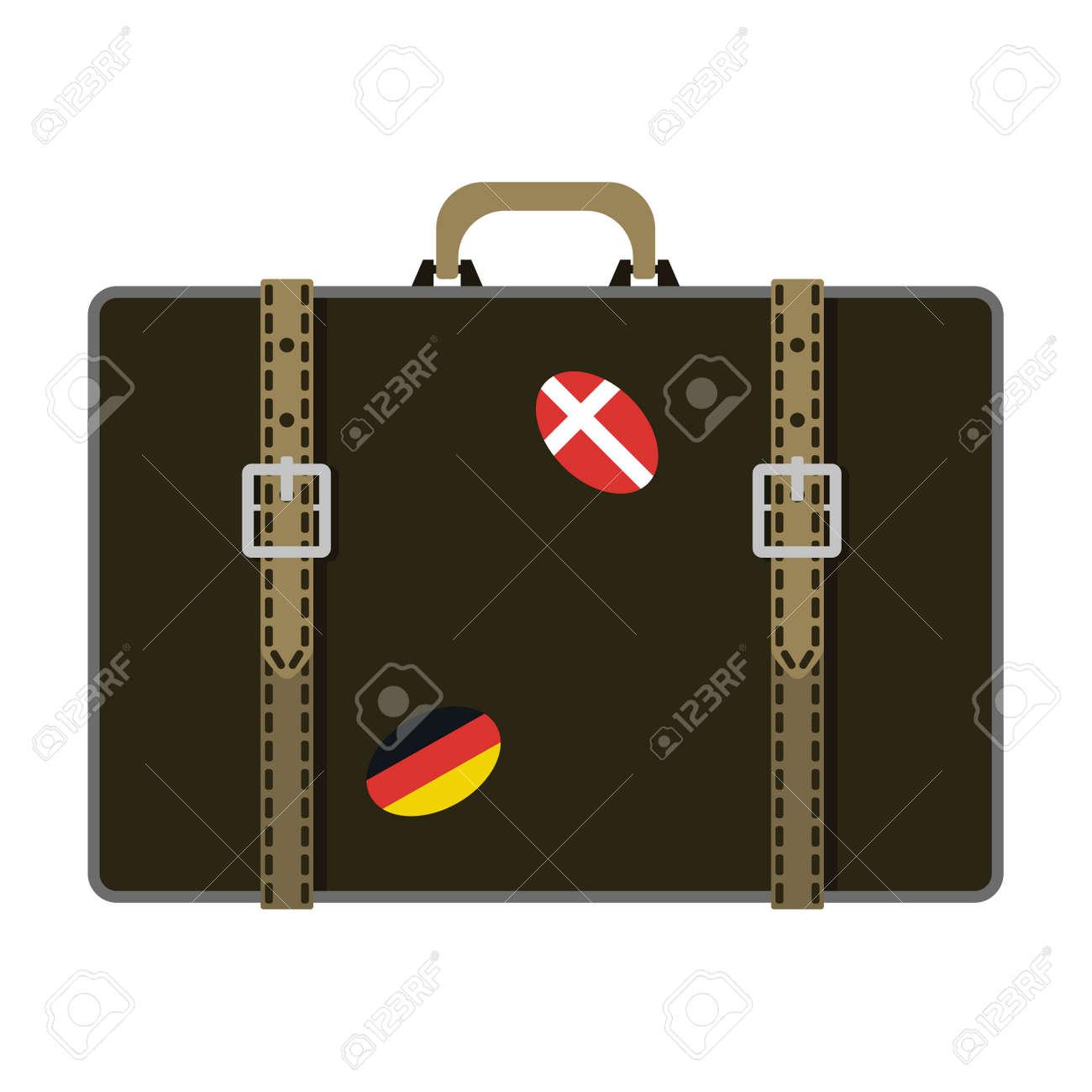 Tourisme Voyage bagages de la mode et de vacances cuir poignée grand emballage mallette. Voyage sac de destination sur les roues. vecteur valise de