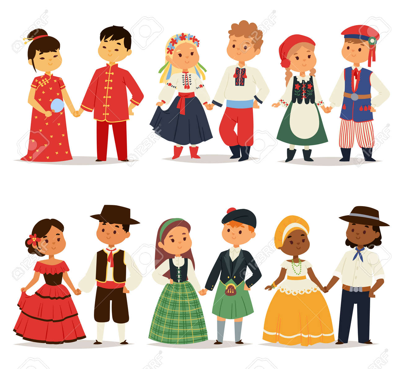 Illustration - Traditional kids couples character of world dress girls and boys in different national costumes and cute little children nationality dress ...  sc 1 st  123RF.com & Traditional Kids Couples Character Of World Dress Girls And Boys ...
