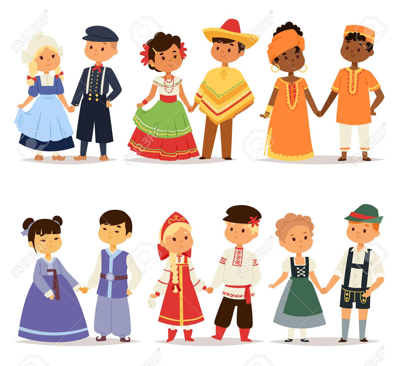 異なる民族衣装とかわいい子供たちの国籍ドレス ベクトル イラストの世界