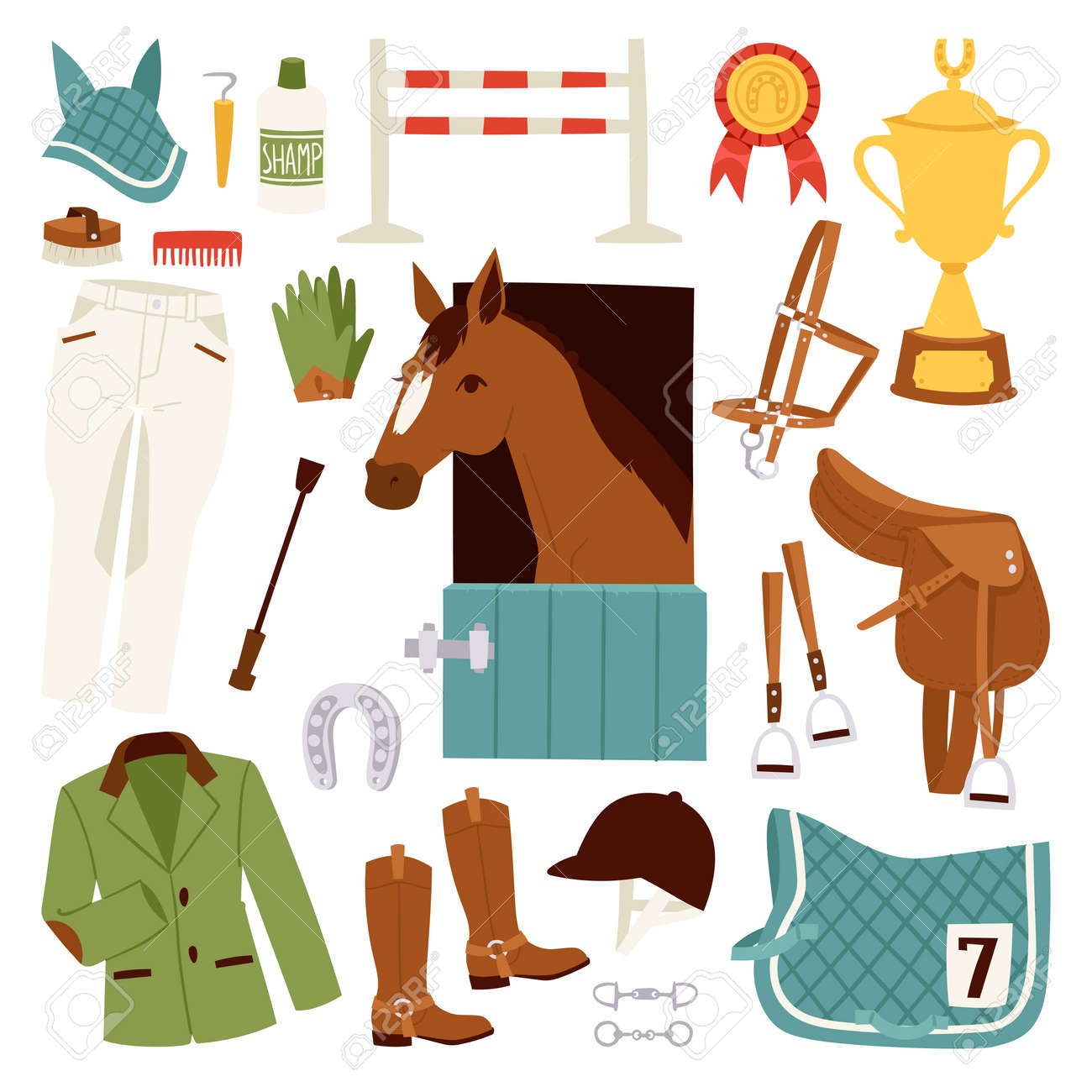 Flat Color Jockey Icons Set With Equipment For Horse Riding Isolated And Horseshoe Saddle Sport Race