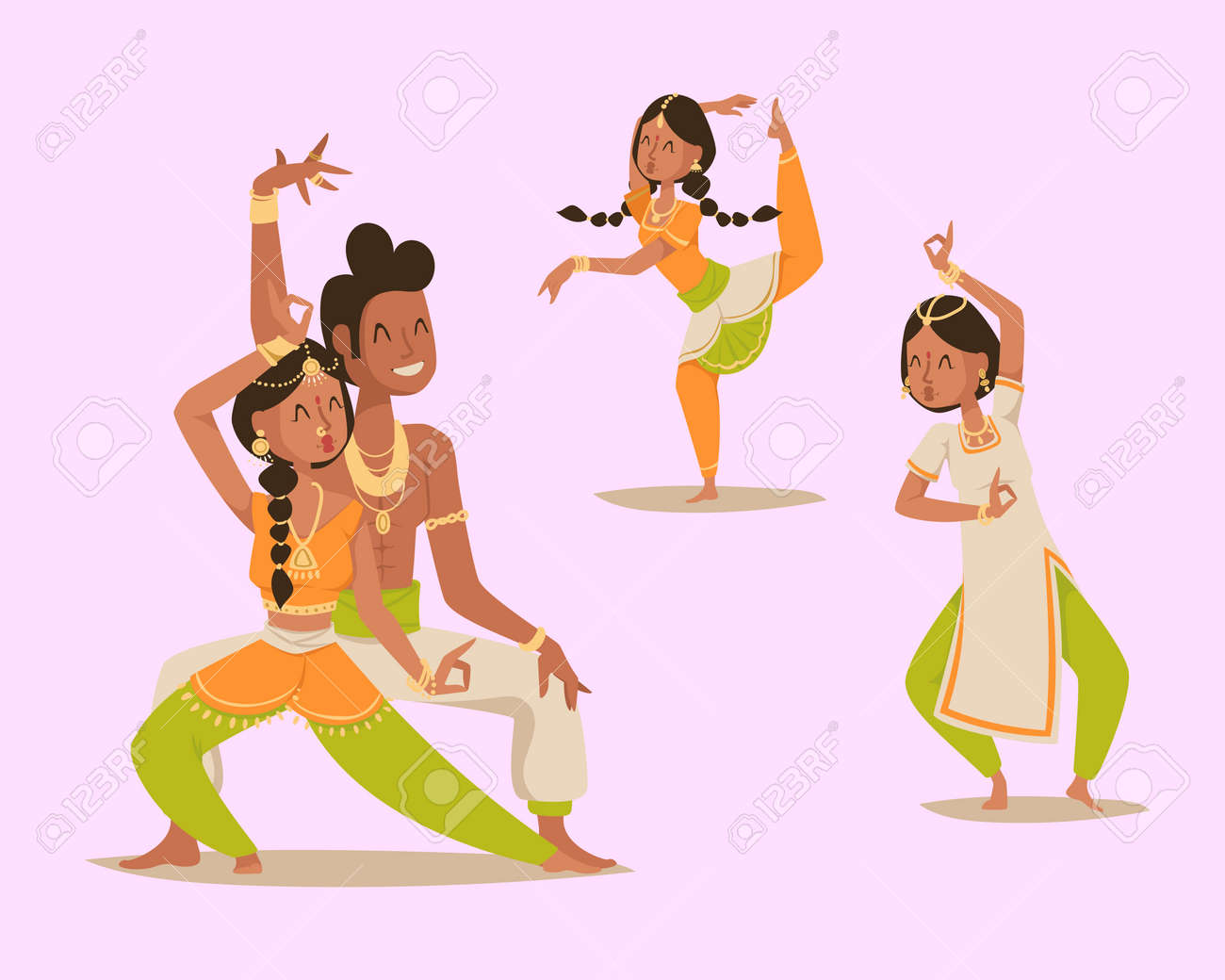 Indian woman man dancing vector isolated dancers silhouette icons people  India dance show party movie 8959d0b714
