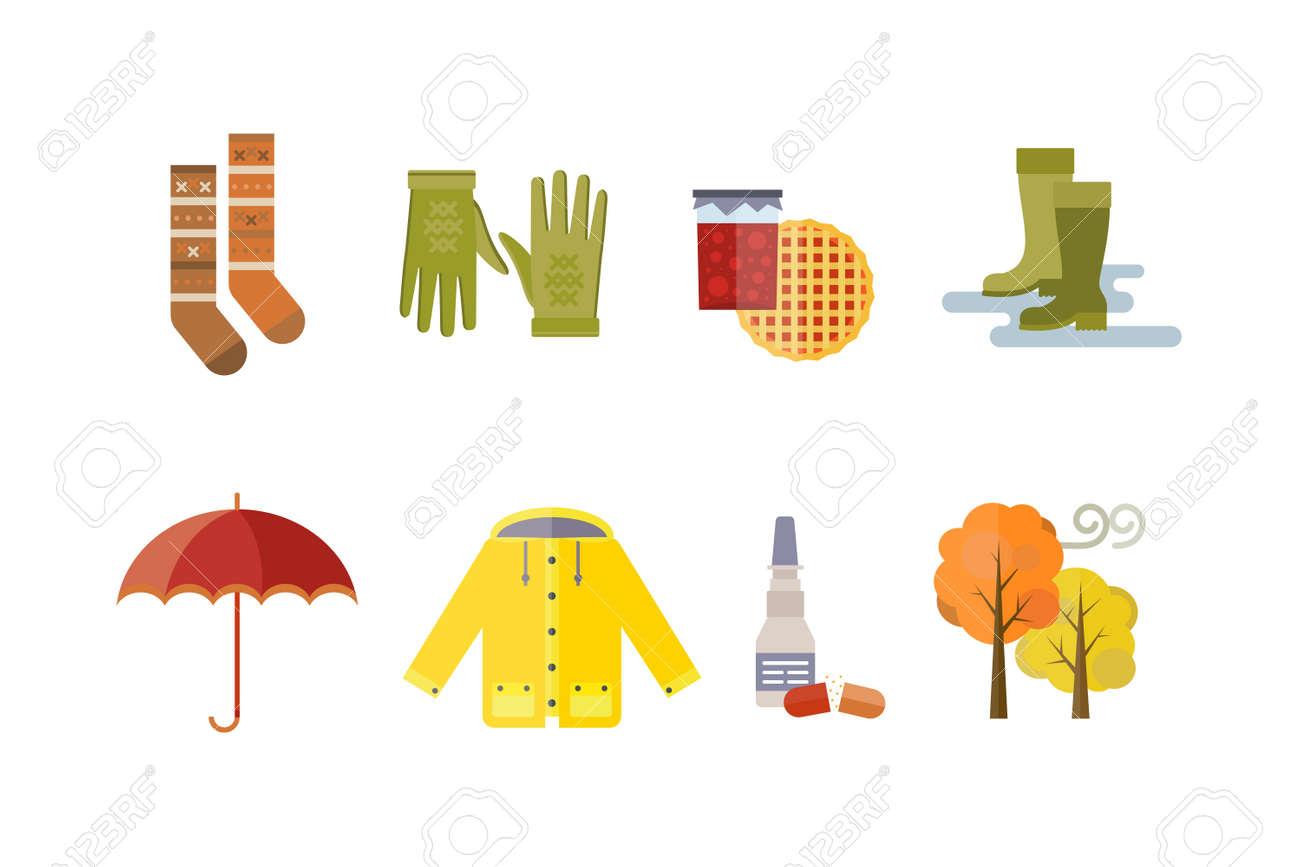 6149816adc Herbst Kleidung Set Gegenstände der Herbst Baum Regen Wolken kaltes Wetter  rot gelb Farben Hut Schal