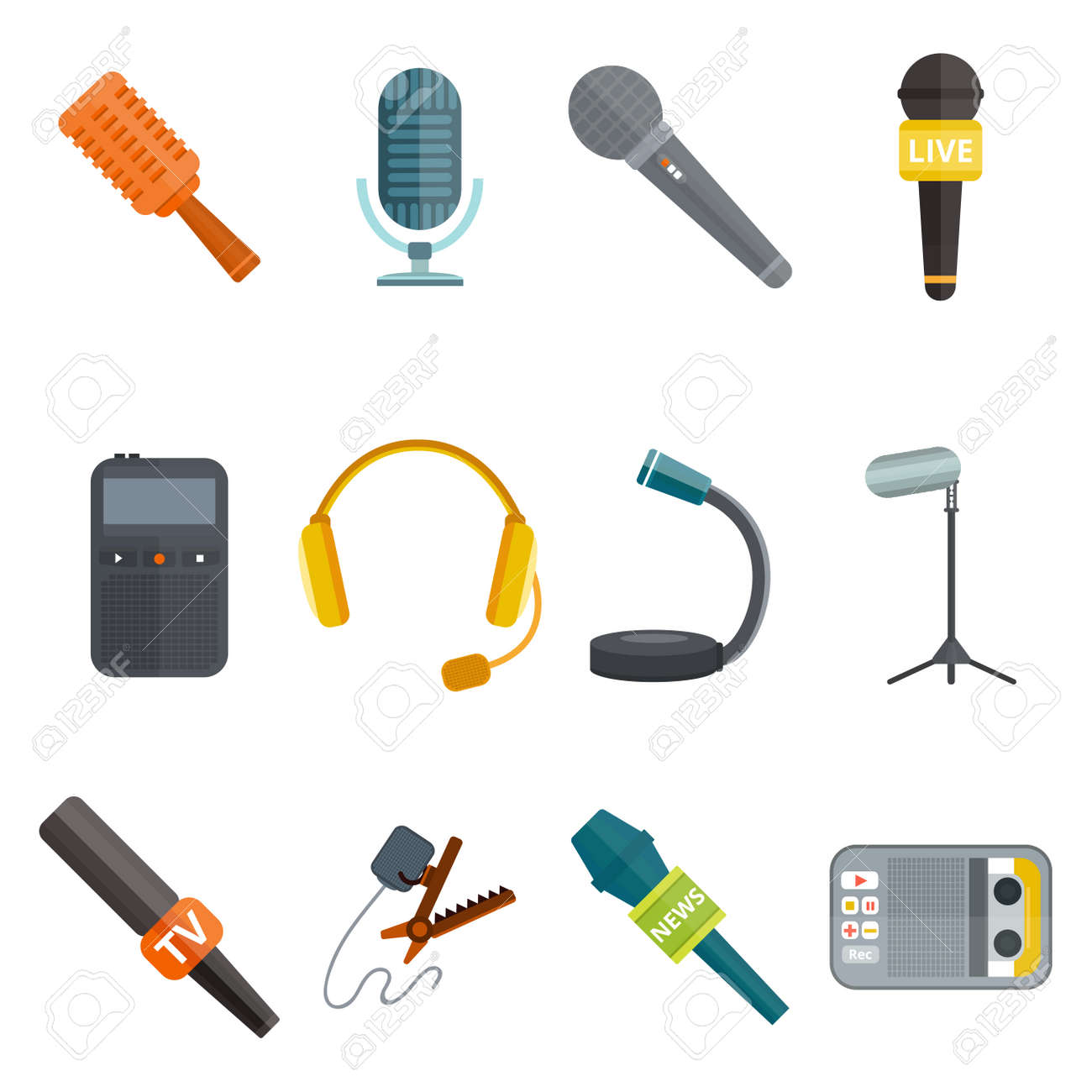 Microphone vector icon isolated interview music TV tool show