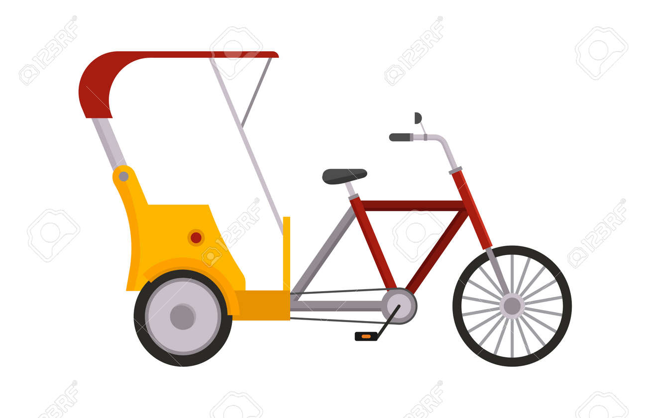 人力車自転車分離ベクトル タクシー黄色観光イラスト分離された輸送