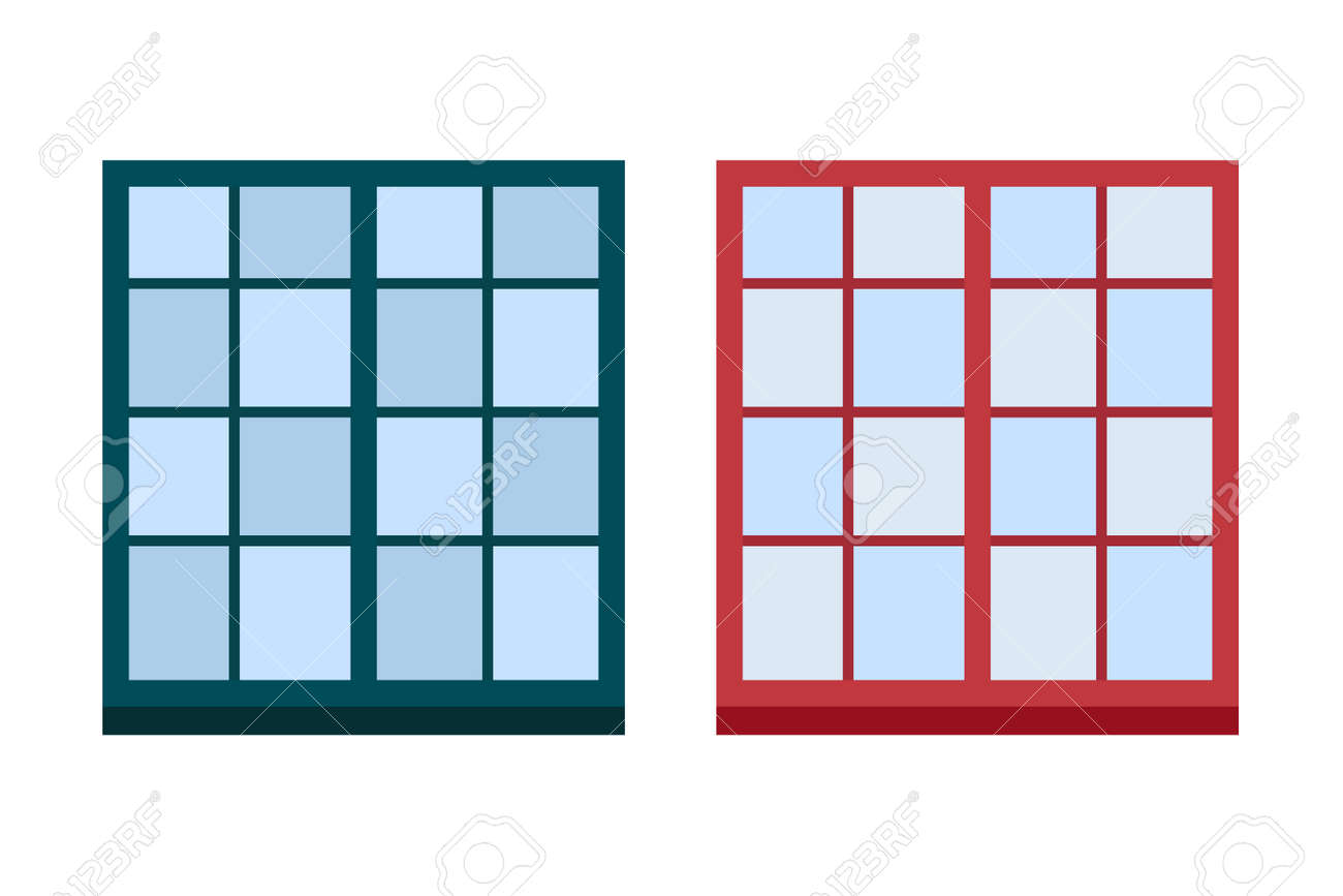 Art Der Haus Fenster Element Isoliert Flache Stil Rahmen Haustür ...