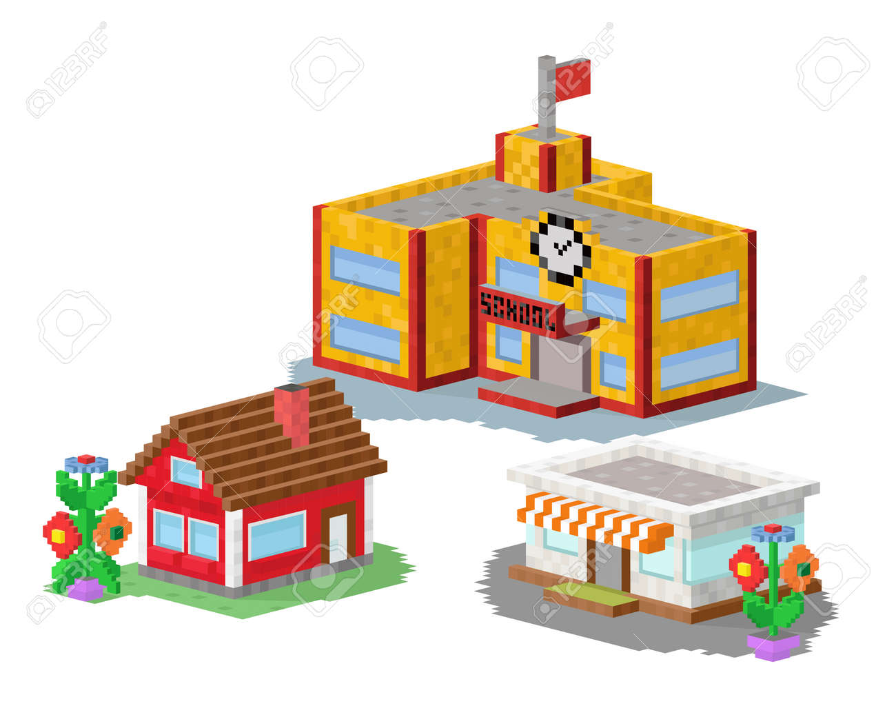 Cute Colorful Flat Style House Village Pixel Art Real Estate ...