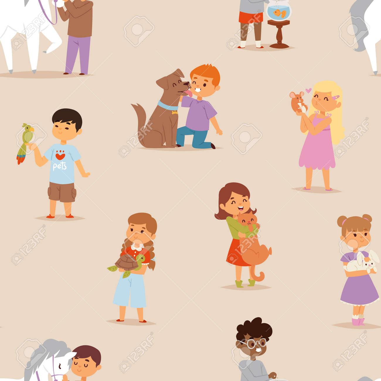 Caricatura Niños Pequeños Personajes Poco Mascotas Amistad