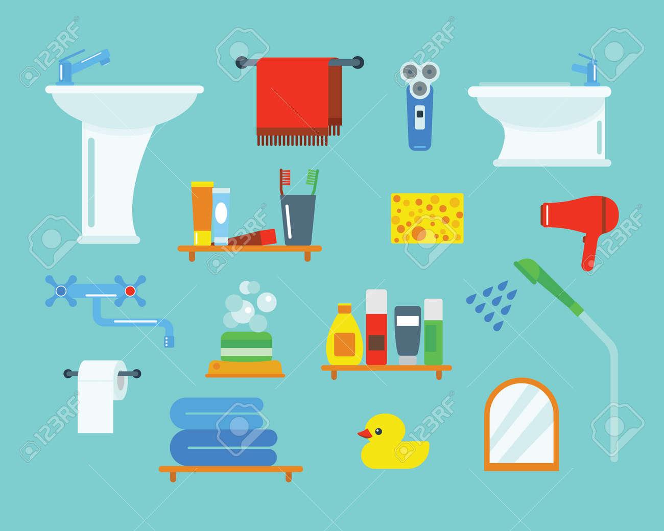Bad Geräte Symbole Dusche Flache ClipArt Abbildung Für Bad  Hygiene Vektor Design