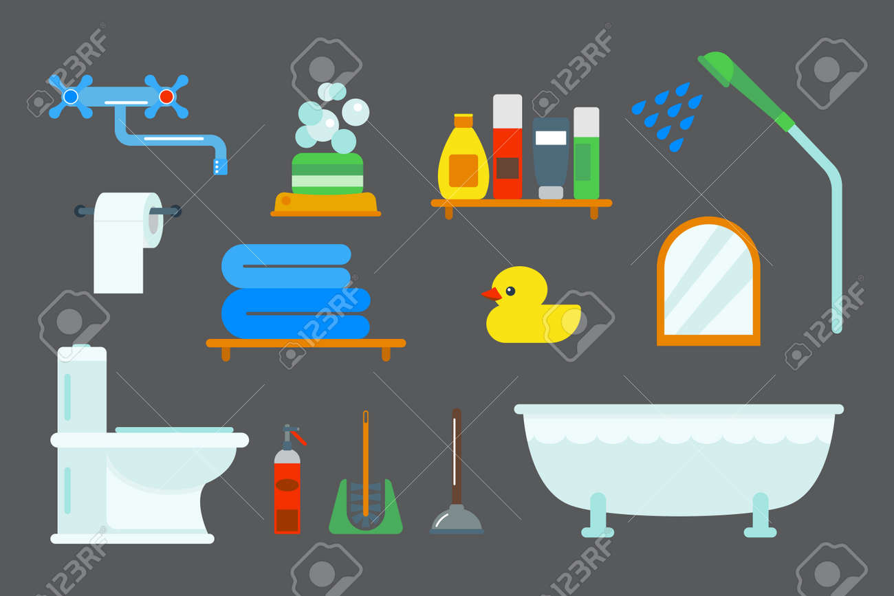 Büromöbel clipart  Bath equipment icons shower flat style colorful clip art illustration..