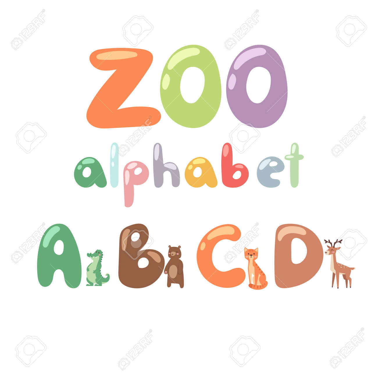 Cute Zoo Alphabet With Cartoon Animals Isolated And Funny Letters