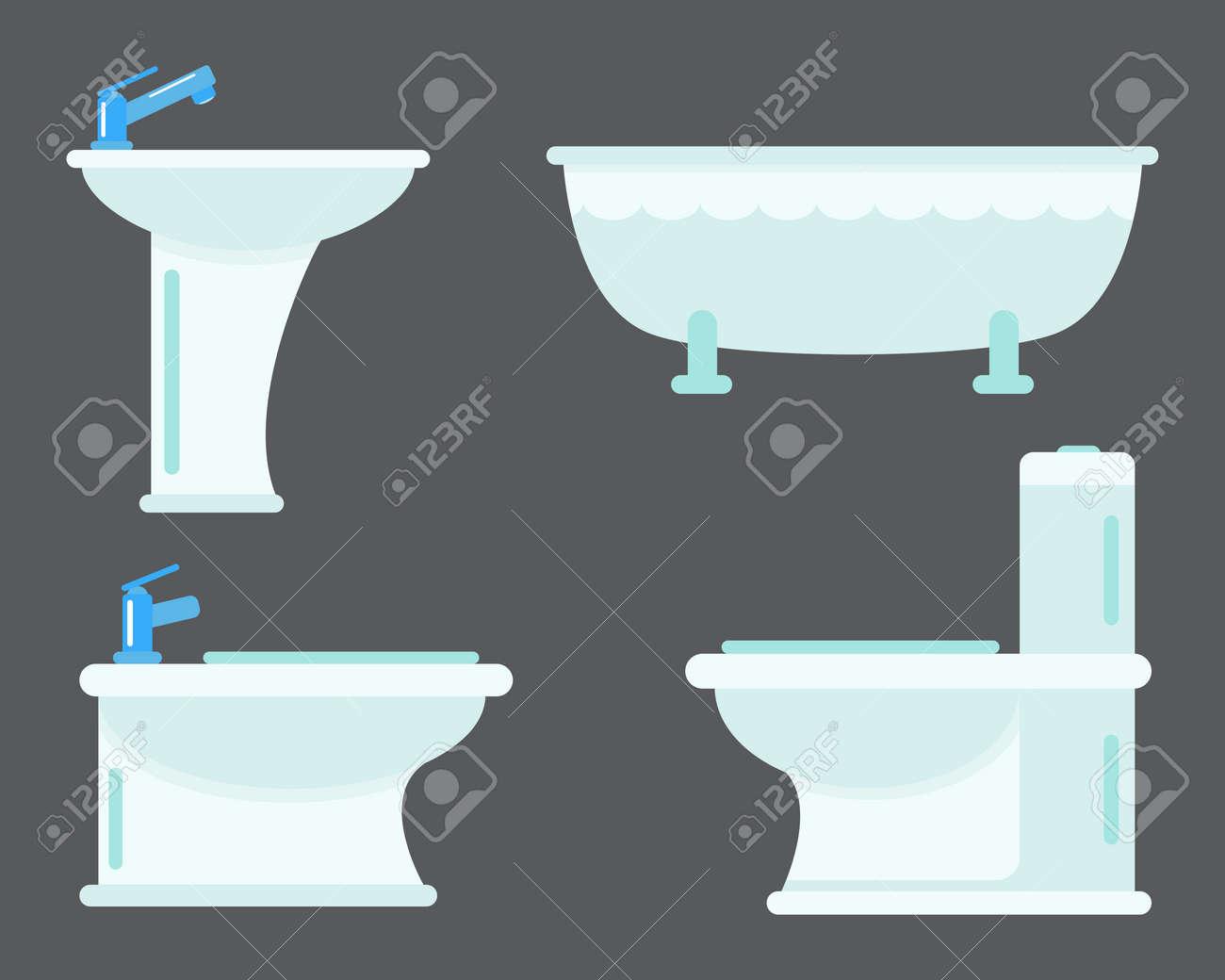 Bad apparatuur icoon toilet kom badkamer schoonheid plat stijl