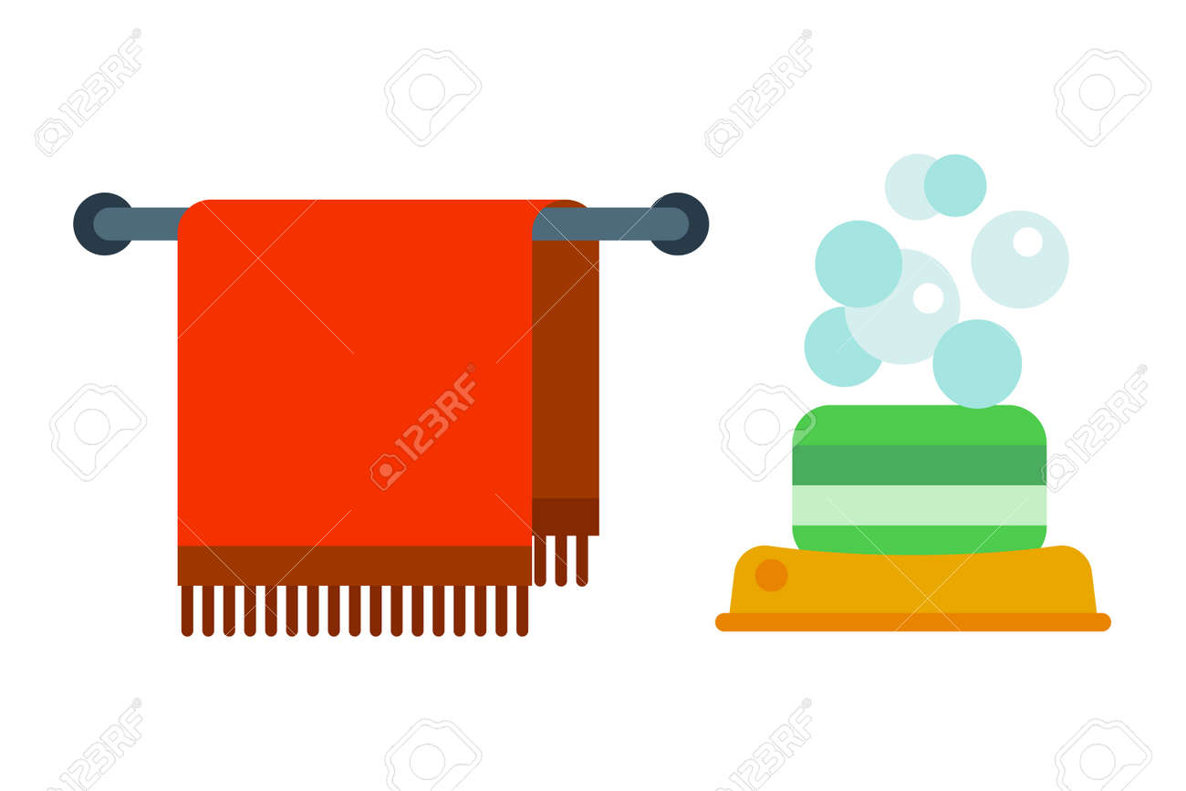Bad Geräte Symbole Dusche Flache Clipart Abbildung Für Bad Hygiene