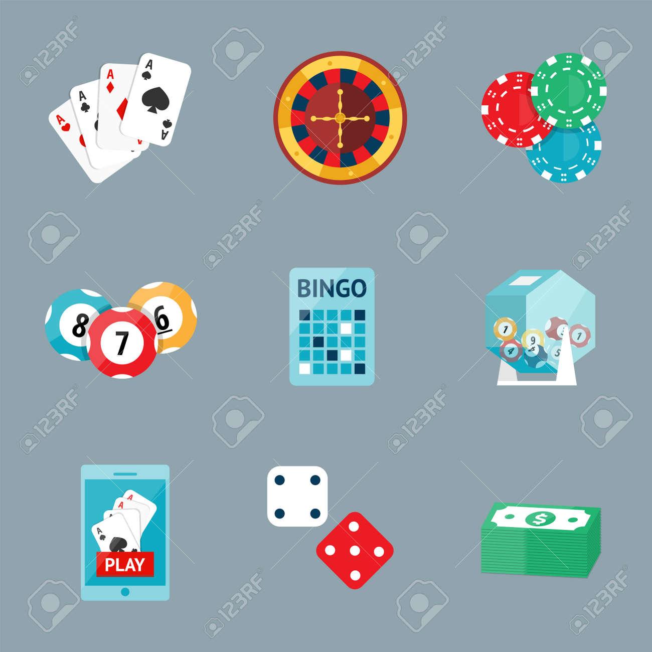 Casino Game Poker Gambler Symbols Blackjack Cards Money Winning