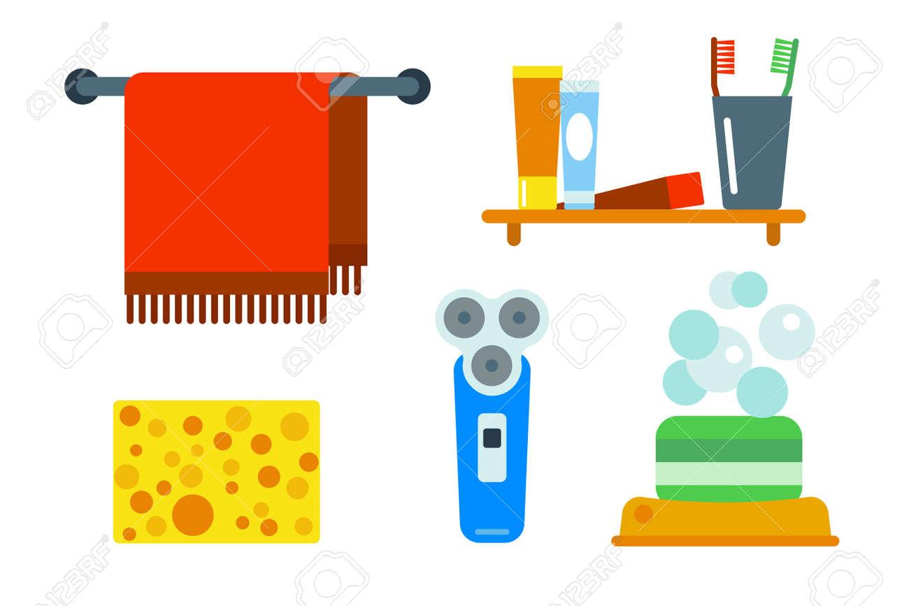 Dusche clipart  Bad-Geräte-Symbole Dusche Flache ClipArt Abbildung Für Bad Hygiene ...