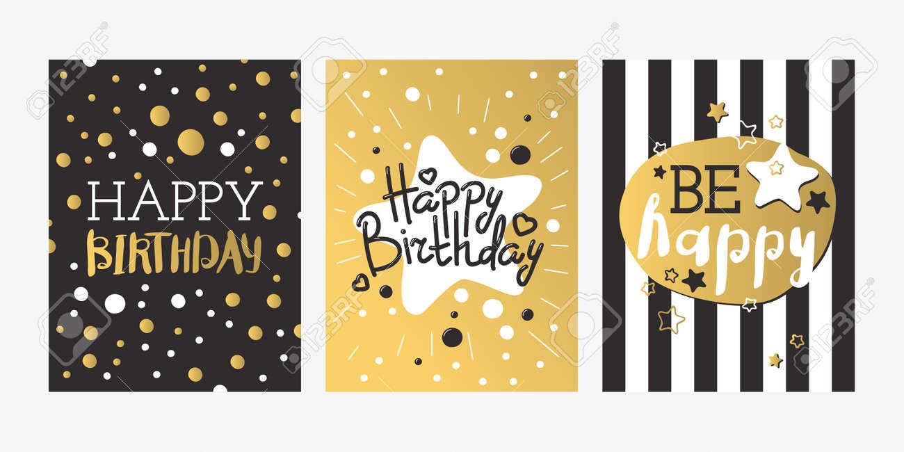 Hermosa Tarjeta De Invitación De Cumpleaños De Diseño De Oro Y Negro De Colores Decoración Saludo Vector