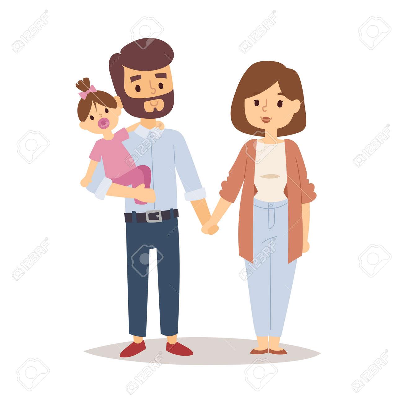 Familia Feliz Pareja Dibujos Animados Relación Personajes Estilo De