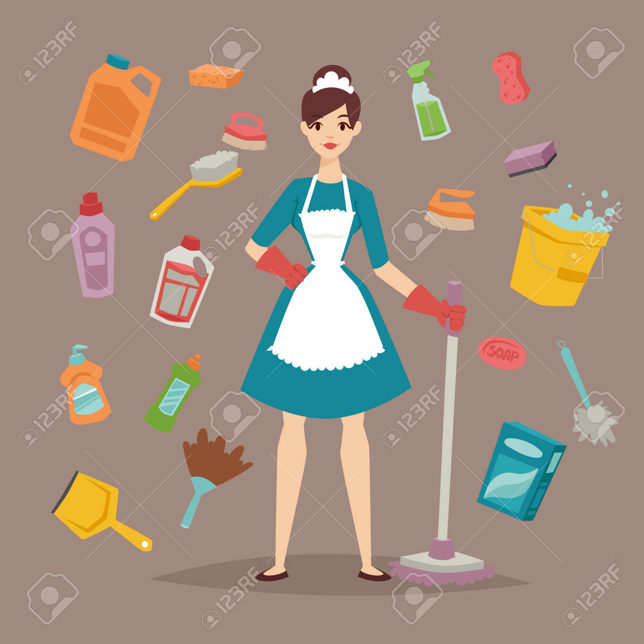 Cool House Cleaner With Cleaning Tools Illustration Download Free Architecture Designs Ferenbritishbridgeorg