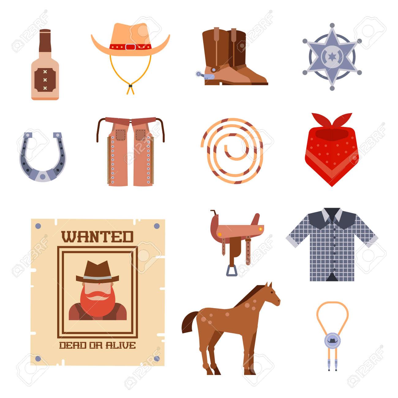 52be4e67148d Foto de archivo - Salvaje oeste elementos conjunto iconos vaquero rodeo  equipo y accesorios diferentes ilustración vectorial.
