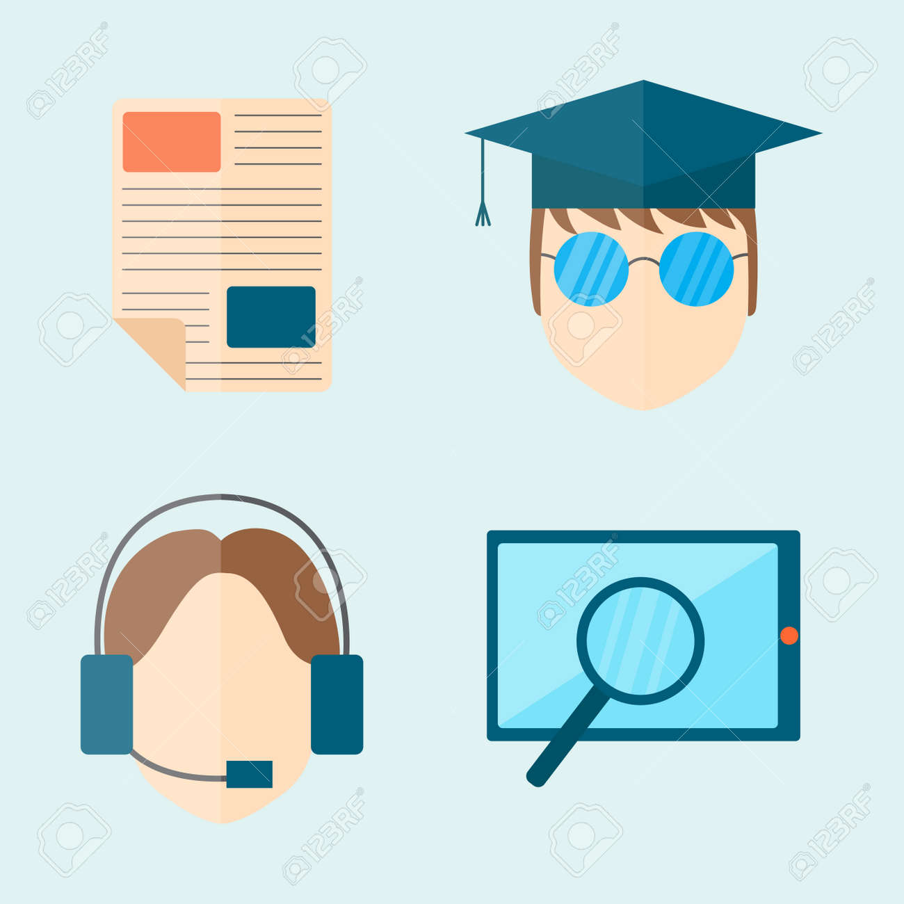Leaarning And School Vector Illustration Web Icon Set College