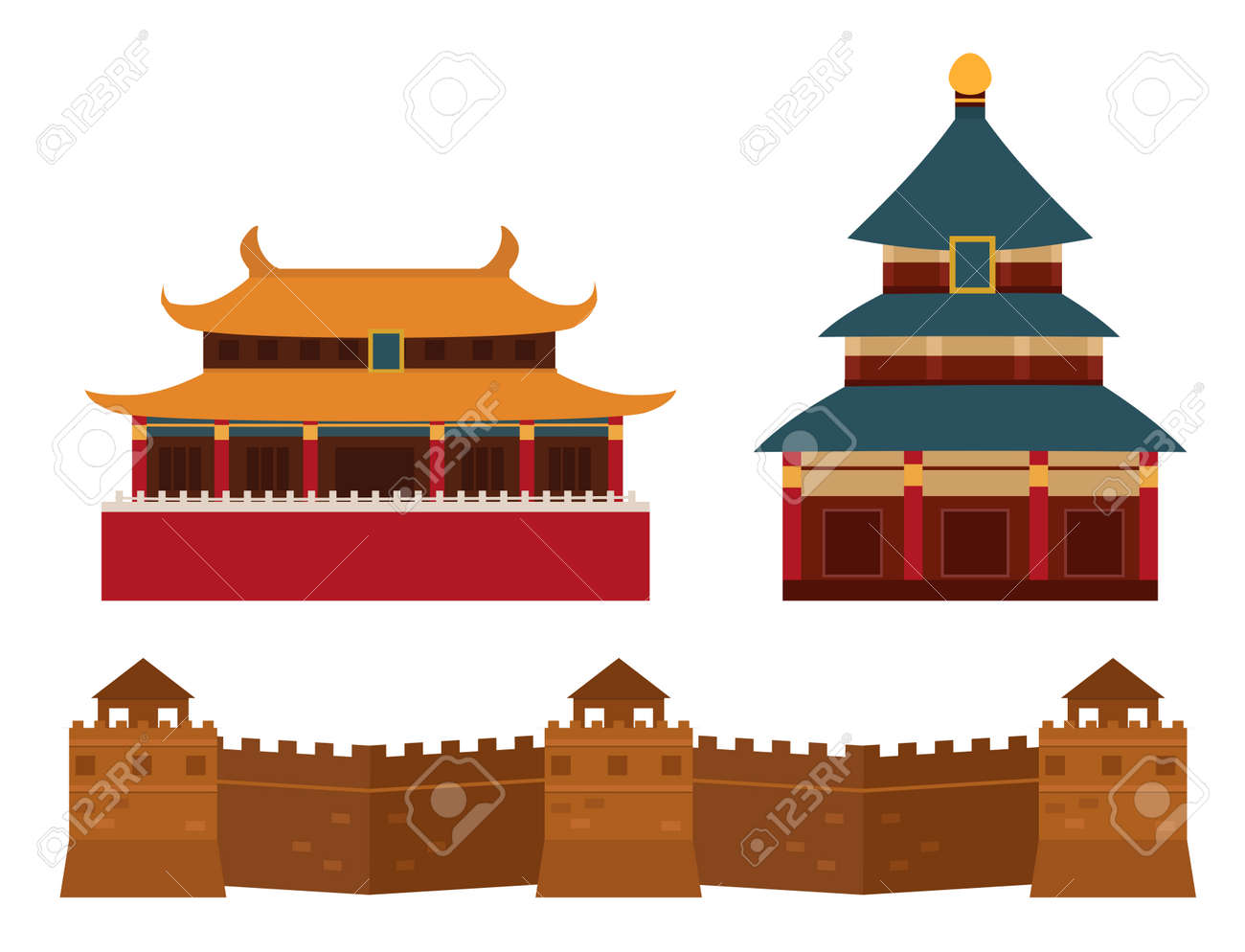 Great wall of China beijing asia landmark brick architecture culture history vector illustration. Stock Vector  sc 1 st  123RF.com & Great Wall Of China Beijing Asia Landmark Brick Architecture ...