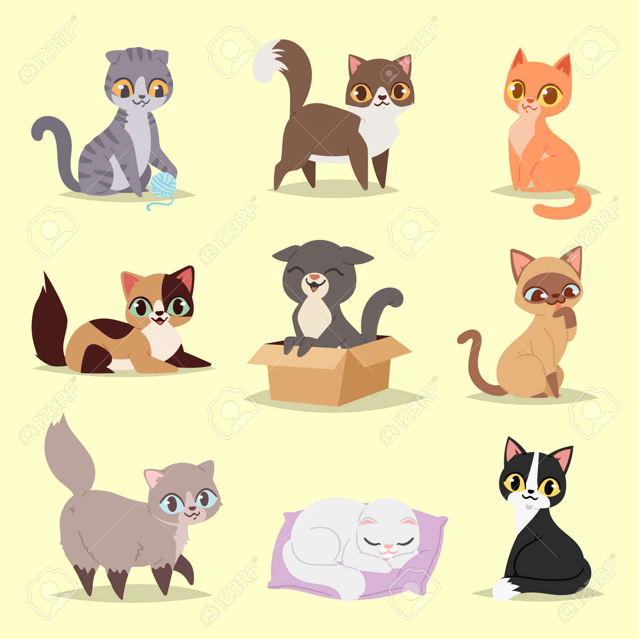 Cute cats kitty pet adorable character different poses. Home cats different breeds Stock Vector -