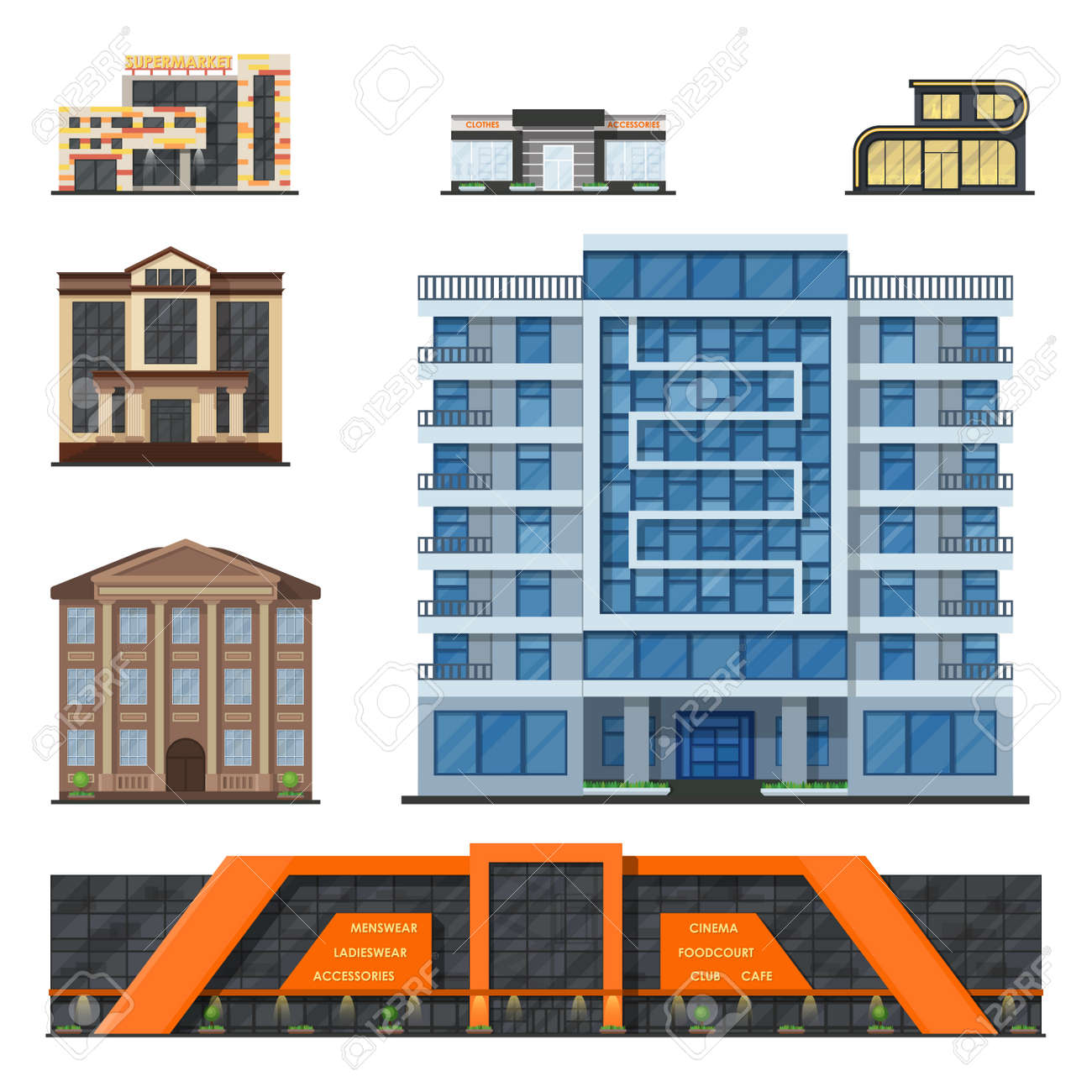 modern office architecture. City Buildings Modern Tower Office Architecture House Business Apartment Home Facade Vector Illustration. Cityscape C