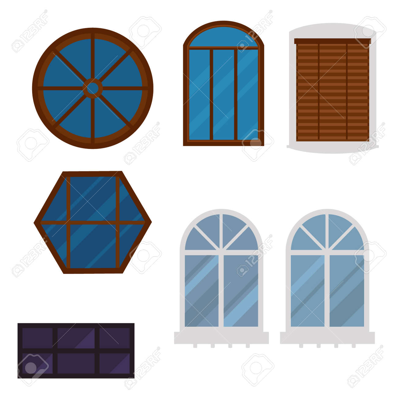 Different Types House Glass Frames Construction Decoration Royalty