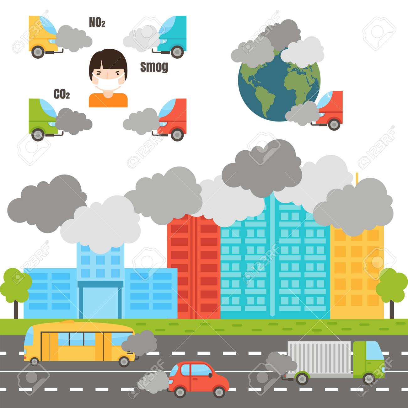 生態インフォ グラフィック設定空気水と土壌汚染図ベクトル イラスト煙