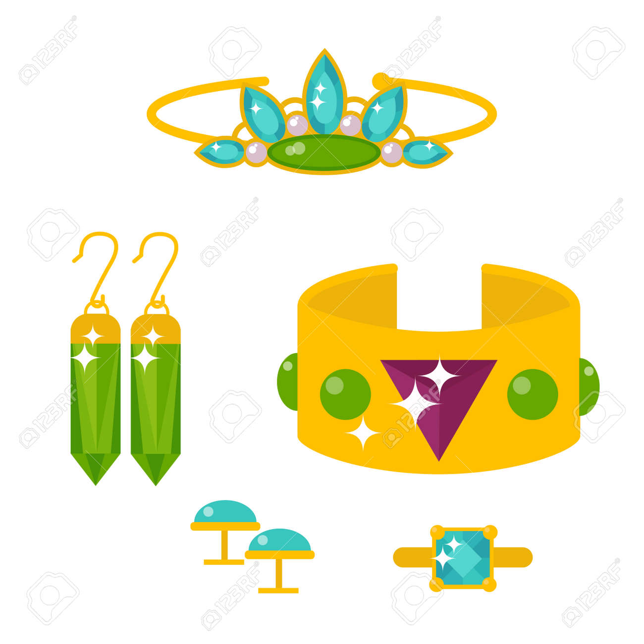 Set Of Vector Jewelry Items Gold And Gemstones Vector Illustration ...